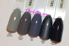 Gelish Cashmere Kind of Gal, Let's Hit the Bunny Slopes, Clean Slate, Midnight Caller and Fashion Week Chic. Grey Gel Nails, Shellac Nails, Dark Grey Nails, Nail Polishes, Manicures, Green Nail Polish, Gel Polish Colors, Gel Color, How To Do Nails