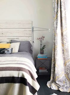LOVE this bedroom! Shabby, modern, calm.    Poppytalk: Magazine Peek: March's Chatelaine