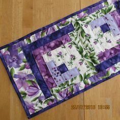 Rail Fence table runner - purples and greens by carmenjass on Etsy