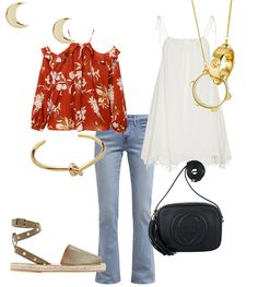 Gucci Soho Disco bag, Earrings, Off-the-shoulder top with flower print, white dress, Ina Beissner necklace, Céline arm cuff, Levi's bootcut jeans, Espadrilles - teetharejade.com