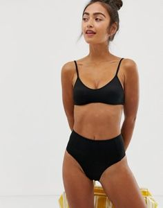Image 1 of Monki high waisted mix   match bikini brief in black Μαγιό e671bdd29a3