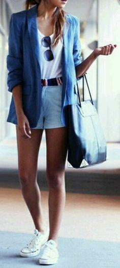 Blue Blazer + White Converse