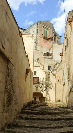 A street in the Sassi section of Matera, Italy. A must see UNESCO World Heritage site. If you travel to Italy, don't miss this historic experience.