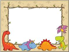 Pictures of past! Dinosaur Printables, Dinosaur Activities, Dinosaur Crafts, Borders For Paper, Borders And Frames, 2 Kind, School Labels, Cute Frames, Birthday Frames