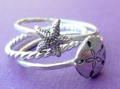 Sterling Silver Sea Stacking Ring Set with Starfish and Sand Dollar. $52.00, via Etsy.