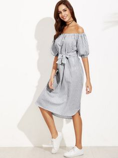 Boho A Line Striped Straight Regular Fit Off the Shoulder Half Sleeve Puff Sleeve Natural Black and White Long Length Striped Off Shoulder Blouson Sleeve Belted Dress with Belt Vertical Striped Dress, Boho Chic, Gypsy, Asos, Off Shoulder Dresses, Going Out Dresses, Belted Dress, Stripe Dress, Latest Dress