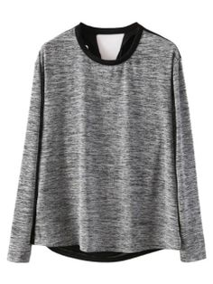 Gray Long Sleeve T-shirt With Black Back