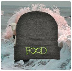 food: grey beanie, neon green embroidery