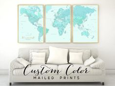 "Custom color & custom quote - Highly detailed world map print, set of 3 prints in 24x36"" each"