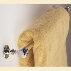 Classic Single Towel Rail in polished chrome. Made in England to order from Priors. http://www.priorsrec.co.uk/classic-single-towel-rail/p-41-45-172