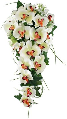 Tropical Silk Orchid Cascade White/Fuchsia - Bridal Wedding Bouquet