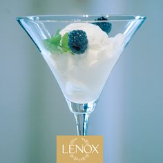 Coconut Sorbet with Blackberries & Fresh Mint...white, fresh and light for the season. Recipe by Rozanne Gold for Lenox. Tuscany Classics Martini Glass. #rozannegold #lenox #dessert