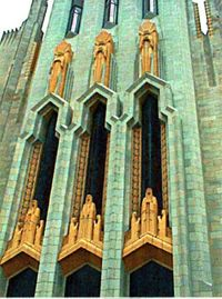 Art deco figures in the architecture of Tulsa's Boston Avenue Methodist Church, completed in 1929.