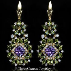 Vintage Russian Costume Jewelry Gold Plated CZ Created Diamomd Big Dangle Olive Green Earrings With Amethyst Purple Stone ER213