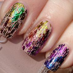 Zoya Kennedy with rainbow foiling   http://www.lucysstash.com/2012/02/rainbow-nail-art-with-zoya-kennedy-and.html