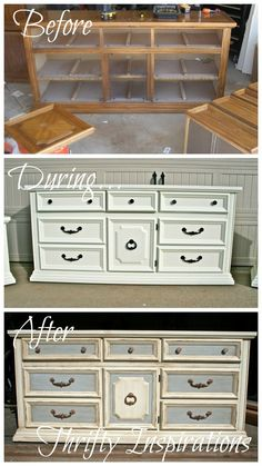 DIY Painted Dresser: How to glaze & distress an old dresser tutorial - by Thrifty Inspirations