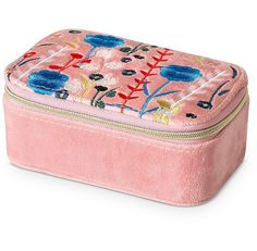 Hana Embroidered Travel Jewellery Box Small