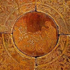 Medieval encaustic tile, showing the legend of King Mark & Tristram. Chertsey Abbey, Surrey.