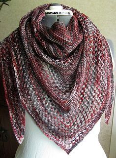 Need help with this pattern? Come visit the store for assistance. Knitting - Lace shawl - free pattern on Ravelry - variegated sock yarn! Crochet Shawls And Wraps, Knitted Shawls, Crochet Scarves, Crochet Clothes, Lace Shawls, Knitting Scarves, Knitted Bags, Knitting Patterns Free, Knit Patterns