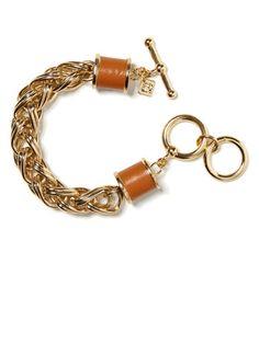 Banana Republic Issa Collection Gold and Brown Leather Chain Link Bracelet, $45; bananarepublic.com #bracelets #budget