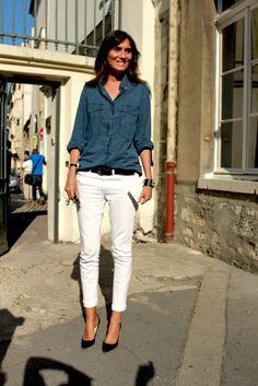 Emmanuelle Alt + white jeans.