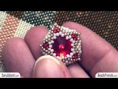 Beaded earring: Rivoli post earring, made with seed beads size 15/0 | Beaded Jewellry - YouTube
