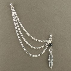 Double Piercing Cartilage Chain Earring With Feather Charm And Black Onyx In Sterling Silver 925 Jewellery Single Earring