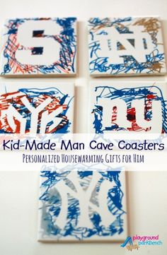 Football season is upon us... need a gift idea for the sports lover in your life?  How about these DIY Personalized Man Cave Gifts - Sports Team Coasters.  Ours were kid-made, but you can kick them up a notch with more finesse and fewer scribbles if you want a more refined look!