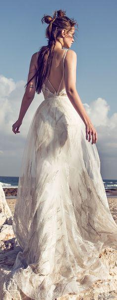 limor rosen 2018 bridal spagetti strap deep v neckline heavily embellished bodice flowy skirt romantic modififed a  line wedding dress open scoop back chapel train (lola) bv -- Limor Rosen 2018 Wedding Dresses
