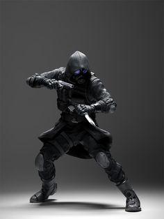 future, Vector, cyberpunk, futuristic, future warrior, gun, knife, man in black, weapon, boots, gloves, future soldier, futuristic soldier by FuturisticNews.com