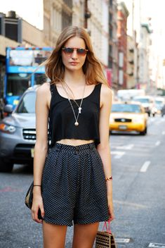 How to rock a crop top! Try it with some oversized, soft shorts