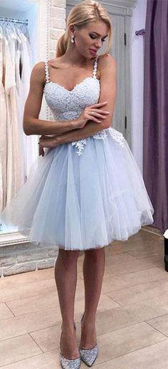 Light Blue Sweetheart Straps Appliques Tulle Short Homecoming Dress OKB55 #lightblue #straps #lace #short #homecoming #sweet16 #okdresses