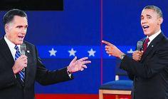 Cara a cara entre Obama y Romney.