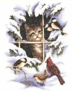 cat looking out window at snow and birds- click on the pic and it will take you to the website where you will find all the free charts and things you will need
