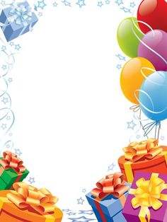 Happy Birthday Transparent Frame with Gifts and Balloons: