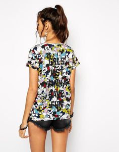 Eleven Paris   Eleven Paris All Over Minni Mouse T-Shirt with Girls Just Wanna Have Fun Back Slogan at ASOS
