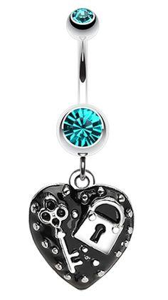 Lock & Key on Black Heart Dangle Belly Button Ring #BellyRing #Heart #HeartBellyRing #BodyMod #BodyModification #Piercings