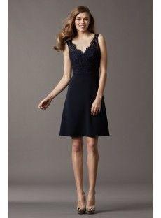 V Neck Knee Length Lace Appliques A Line Bridesmaid Dress - USD $94.99