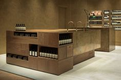 the recently opened aesop store in fukuoka marks a renewed collab with tokyo-based architecture practice simplicity. Pharmacy Design, Retail Design, Commercial Interior Design, Commercial Interiors, Tienda Aesop, Visual Merchandising, Simplicity Studio, Aesop Shop, Pop Up