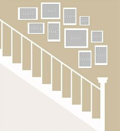 Picture Wall Layout for Stair& gallery wall ideas gallery wall layout Staircase Pictures, Gallery Wall Staircase, Picture Wall Staircase, Staircase Wall Decor, Picture Frames On The Wall Stairs, Stairway Decorating, Stair Gallery, Stair Decor, Staircase Frames