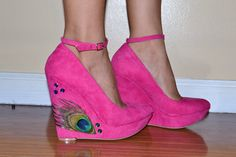 Pink Peacock Wedges Size7 by ViciousElegance on Etsy, $65.00