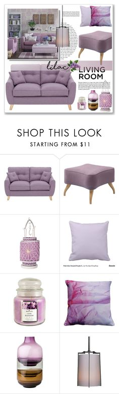 """tonal lilac living room"" by nanawidia ❤ liked on Polyvore featuring interior, interiors, interior design, home, home decor, interior decorating, Gubi, Cultural Intrigue, Hallmark and Suzanne Goodwin"