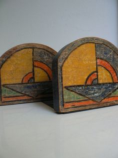 A pair of art deco bookends/ 1930s wood by secreteyesonly on Etsy, $45.00