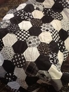 Hexagon quilt - artist unknown- black & white, or dark plum...