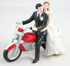 Customized bride and groom on motorbike wedding cake topper by couplesoncakes.com