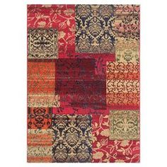 """Anchor your living room seating group or define space in the den with this artfully loomed rug, featuring an exotic patchwork motif for eye-catching appeal.  Product: RugConstruction Material: PolypropyleneColor: Red, tan, black, orange, green and navy blueFeatures: Power-loomedPile Height: 0.25"""" Note: Please be aware that actual colors may vary from those shown on your screen. Accent rugs may also not show the entire pattern that the corresponding area rugs have.Cleaning and Care: ..."""