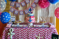 Pink & Blue Nautical Girl Party - Birthday Party Ideas for Kids and Adults Bridal Shower Cakes, Baby Shower Favors, Baby Shower Parties, Birthday Party Decorations, Baby Shower Decorations, Birthday Parties, Birthday Cakes, Birthday Ideas, Nautical Party