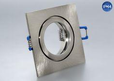 IP44 Aluminium Einbaustrahler eisengebürstet eckig Feuchtraum