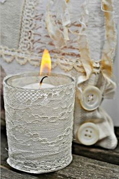 Perfect for using up scraps of lace.  Would be so pretty in a bathroom, bedroom or on a bookshelf.