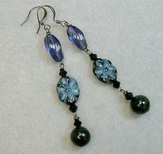 Vintage Blue Tigereye Hawkeye Bead Earrings by ForeverInStyle, $36.00